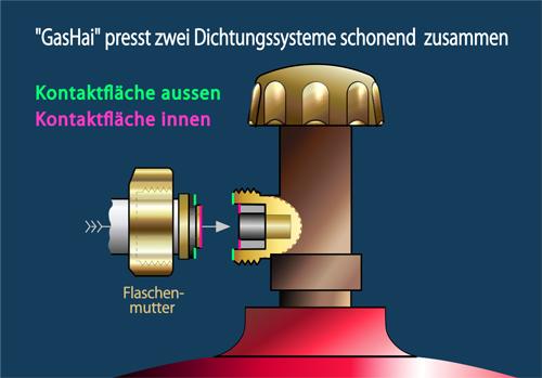 Zwei Dichtungssysteme eines Gasdruckminderers in der Schweiz